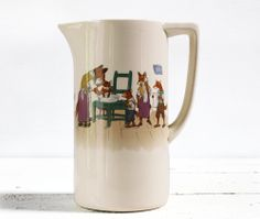 RARE Villeroy and Boch CHILD Wash Pitcher with FOX family 1900. $250.00, via Etsy.