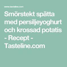 Smörstekt spätta med persiljeyoghurt och krossad potatis - Recept - Tasteline.com