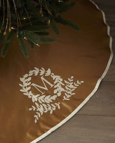 Monogram Initial Christmas Tree Skirt at Horchow.