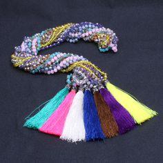Crystal Luxury Necklace for women Tassel long Necklace Handmade Bohemia jewelry