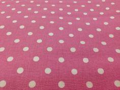 Tessuto cotone rosa a pois grandi