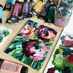 Step by step acrylic painting for beginners. Video tutorial by artist Elle Byers. How to paint easy flowers with acrylic paint. Acrylic Painting Flowers, Acrylic Painting For Beginners, Acrylic Painting Techniques, Beginner Painting, Abstract Flowers, Acrylic Painting Canvas, Painting Abstract, Painting Art, Paintings
