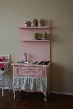 DIY Play Kitchen from a nightstand at honeyscrap. SO CUTE!