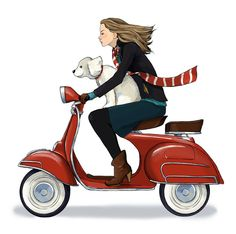 Anna Lazareva Illustration - Girl and Dog on Scooter