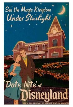 Date Nite at Disneyland Pôster de turismo para adultos na Disneylândia (1959)