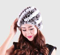 30.91$  Watch here - http://viwbb.justgood.pw/vig/item.php?t=odo0el016656 - Multi-Colors Handmade Natural Women Genuine Knitted Rex Rabbit Fur Winter Hats F 30.91$