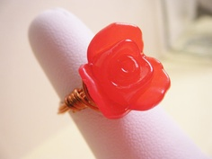 Wire Wrapped Red Lucite Flower & Copper Ring by harmony5 on Etsy, $16.00