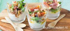 Makkelijke en snelle amuse: heerlijke combi van zachte geitenkaas mousse, vijgen en parmaham