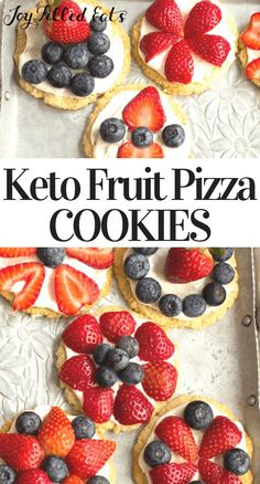 My Keto Fruit Pizza Cookies are as tasty as they are pretty. With a shortbread crust, cream cheese icing, & fresh berries they are a perfect dessert. Healthy Fruit Desserts, Keto Fruit, Kid Desserts, Health Desserts, Fruit Recipes, Dessert Recipes, Keto Recipes, Easter Recipes, Healthy Fruit Tart Recipe