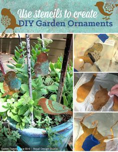 Use Royal Design Studio Stencils and Chalk Paint to Create DIY Garden Ornaments and Outdoor Decor   Paint + Pattern