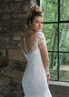 Sincerity Bridal - Style Illusion Lace Long Sleeve Fit and Flare Gown Sincerity Bridal Wedding Dresses, Stunning Wedding Dresses, Wedding Dress Trends, Wedding Gowns, Corsage, Mother Of The Bride Gown, Wedding Dress Pictures, Blush Bridal, Lace Mermaid Wedding Dress