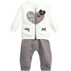iDo Baby Girls Ivory & Grey Spotted Cotton Tracksuit at Childrensalon.com