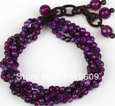 Aliexpress.com : Buy Free Shipping hot design multi strand purple color agate bracelet from Reliable Charm Bracelets suppliers on Bjbead Jew...