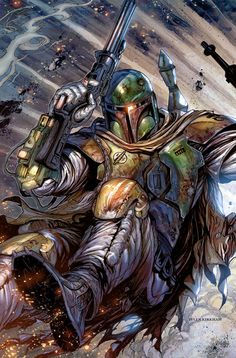 Star Wars - Boba Fett by Tyler Kirkham, colours by Arif Prianto * Boba Fett Art, Boba Fett Mandalorian, Jango Fett, Star Wars Boba Fett, Mandalorian Cosplay, Star Wars Saga, Star Trek, Star Wars Comics, Bounty Hunter
