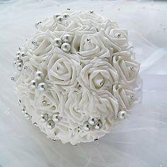 Round Shape Imitation Pearl Wedding Bridal Bouquet – USD $ 58.19