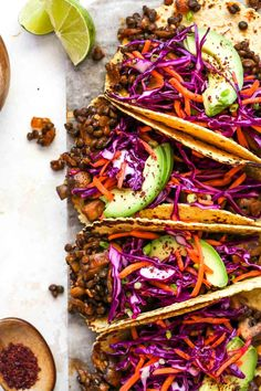 30 Minute Lentil and Mushroom Tacos with all the smoky-spice and rich texture of classic taco meat. These quick and easy veggie tacos will become a healthy, flavorful weeknight favorite. #vegantacos #lentilrecipes #mushroomtacos #lentiltacos #dinnerrecipes #vegetariantacos Veggie Tacos, Vegetarian Tacos, Vegetarian Recipes, Healthy Recipes, Delicious Recipes, Dairy Free Queso, Mushroom Tacos, Vegan Casserole, Tacos And Burritos