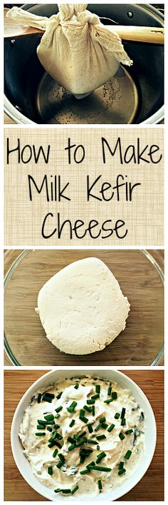 Kefir Cheese is one of the easiest homemade cheeses that you can make, plus it's full of healthy probiotics!Milk Kefir Cheese is one of the easiest homemade cheeses that you can make, plus it's full of healthy probiotics! Kefir Recipes, Milk Recipes, Cheese Recipes, Real Food Recipes, Cooking Recipes, Kombucha, Healthy Snacks, Healthy Eating, Healthy Recipes