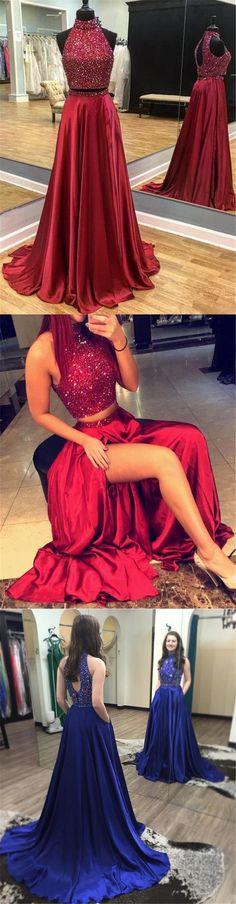 Dark Red Halter Open Back Beaded Floor Long Custom Evening Prom Dresses, 17423