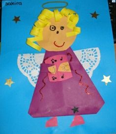 Angel Christmas Art Project for kids Christmas Angel Crafts, Christmas Art Projects, Christmas Sheets, Kids Christmas, Craft Activities For Kids, Crafts For Kids, Kindergarten Crafts, Preschool, Snowman Cards