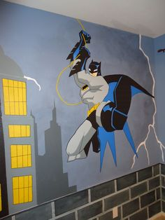 Kid Murals by Dana Railey designs #murals for #kidsbedrooms. With a passion for #painting, Dana can take any idea and turn it into a reality! All murals are #hand-painted and #designed with the clients dreams/ideas becoming a reality! Check out more #kidmurals, #bedroommurals, #paintedmurals, #scottsdalemurals, and #interiordesign ideas on FB at http://www.facebook.com/kidmurals.com or www.scottsdalemurals.com #wallart #mural #marvelcomics #batman #boysroom #gothamcity #batmanmural #kidsroom