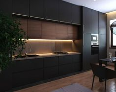 Black appartment & black kitchen