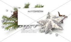 #Christmas Decoration With Greeting Card Isolated On White Background #StockPhoto