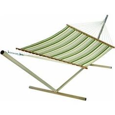 Pin it! :) Follow us :)) zPatioFurniture.com is your Patio Furniture Gallery ;) CLICK IMAGE TWICE for Pricing and Info :) SEE A LARGER SELECTION of patio hammocks at http://zpatiofurniture.com/category/patio-furniture-categories/hammocks/ - home, patio, home decor, hammocks - Castaway Q8205 Large Quilted Hammock – green/white « zPatioFurniture.com