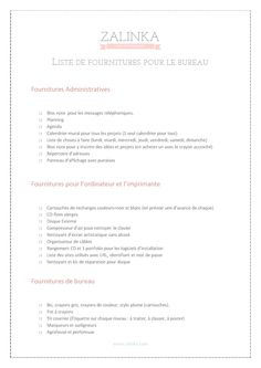 liste fournitures bureau - copyright@zalinka