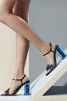 #Valentino adds both feminity and romance with these blue butterly resort 2016 heels #10022Shoe