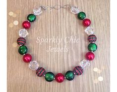 Christmas Chunky Necklace Christmas Fashion, Christmas Jewelry, Beaded Bracelets, Necklaces, Baby Girl Fashion, Jewerly, Xmas, Jewelry Making, Etsy