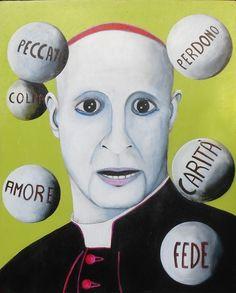 Titolo:Cardinale con le sue palle  Descrizione:  Misure:55 x 45  Tecnica:Acrilico su legno  Anno:2010
