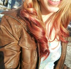 Reverse ombre red and blonde.