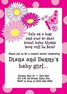 Erflies And Gerbera Daisies Baby Shower Invite