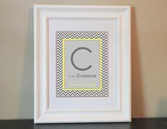 Chevron Baby Nursery Name Art Boy (Gray & Yellow)- 8x10 Personalized Digital Print- Printable. $14.00, via Etsy.