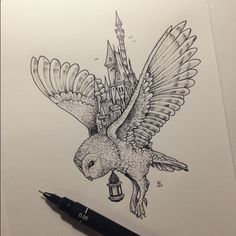 This reminds me of Hogwarts and Hedwig! Illustration Work of Filipino Artist, Kerby Rosanes. See his work at his website, his DeviantArt, his Facebook Page, and Instagram. | timeturnershoppe.tumblr.com