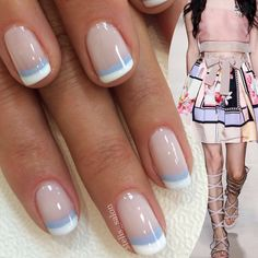 Steli's gorgeous double French manicure paired with Alberta Ferretti spring Pink Tip Nails, Cute Gel Nails, Chic Nails, Classy Nails, Stylish Nails, Simple Nails, Pretty Nails, Fun French Manicure, French Nails