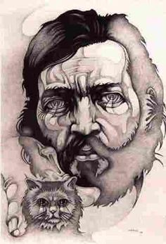"Julio Cortázar and his cat |  graphite drawing, 1988 | by  Ricardo Carpani  ---""Todo gato es un teléfono... Vaya a saber lo que siguen diciéndonos, los caminos que nos muestran. 