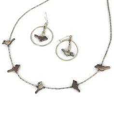 Vintage Tiny Birds Necklace Earring SET Silver by ForgottenCotton, $25.00