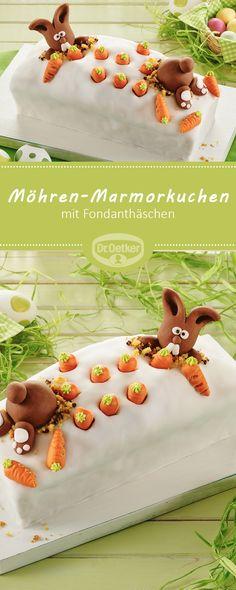 Möhren-Marmorkuchen mit Fondanthäschen: Ostern im Kuchen und Ostern auf dem Kuchen - Möhren und Fondanthäschen verwandeln den beliebten Klassiker in unseren liebsten Osterkuchen #ostern #osterhase #rezept