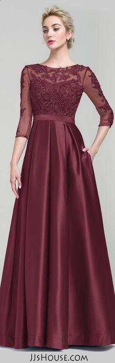 Ball-Gown Scoop Neck Floor-Length Satin Evening Dress #JJsHouse
