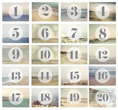 Wedding Table Numbers / Beach Wedding / Coastal Decor / Photography Table Numbers / Ocean Blue Pretty / Digital Download Files on Etsy, $50.00 AUD