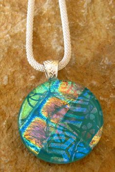 Round Fused Glass Pendant Dichroic Fused Glass Pendant by GlassCat, $32.00