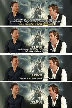 Marvel:The Avengers - Thor: The Dark World - Chris Hemsworth and Loki - Tom Hiddleston Marvel Dc, Marvel Actors, Marvel Comics, Tom Hiddleston Chris Hemsworth, Tom Hiddleston Loki, Chris Hemsworth Funny, Loki Laufeyson, Loki Thor, Marvel Jokes