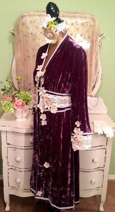 Purple Velvet Coat Bohemian Jacket Deco by SownThreadsClothing