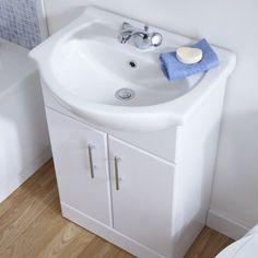 Bathroom Storage Cabinet White Vanity Gloss Unit Ceramic Standing Free Furniture