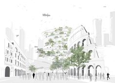 By Sou Fujimoto Architects. Architecture Design, Architecture Collage, Architecture Graphics, Landscape Architecture, Classical Architecture, Lebbeus Woods, Fujimoto Sou, Building Sketch, Building Design