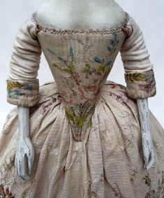 detail of reproduction 18th century doll's dress