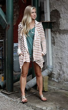 stripe around crochet hoodie cardigan--Get 15% off + Free Shipping w/code 'RiffraffRepLauren' at checkout on ShopRiffraff.com!