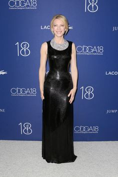 Cate Blanchett in Atelier Versace - Black chain mail, diamond bib by Tiffany.