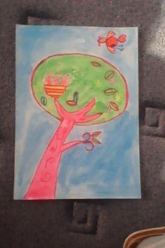strom - mastné pastely + vodovky / baum - oil pastels + watercolours